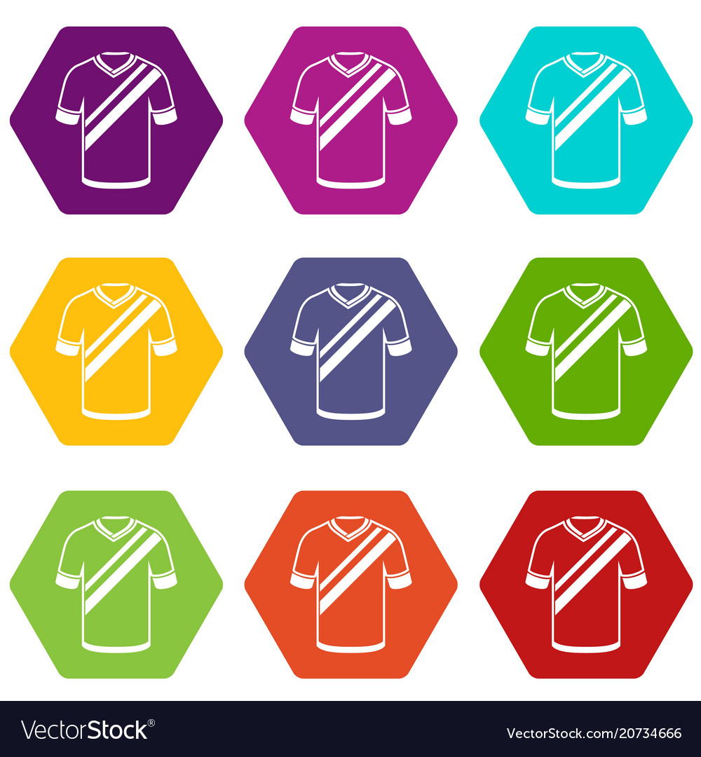 Shirt football icons set 9 vector image