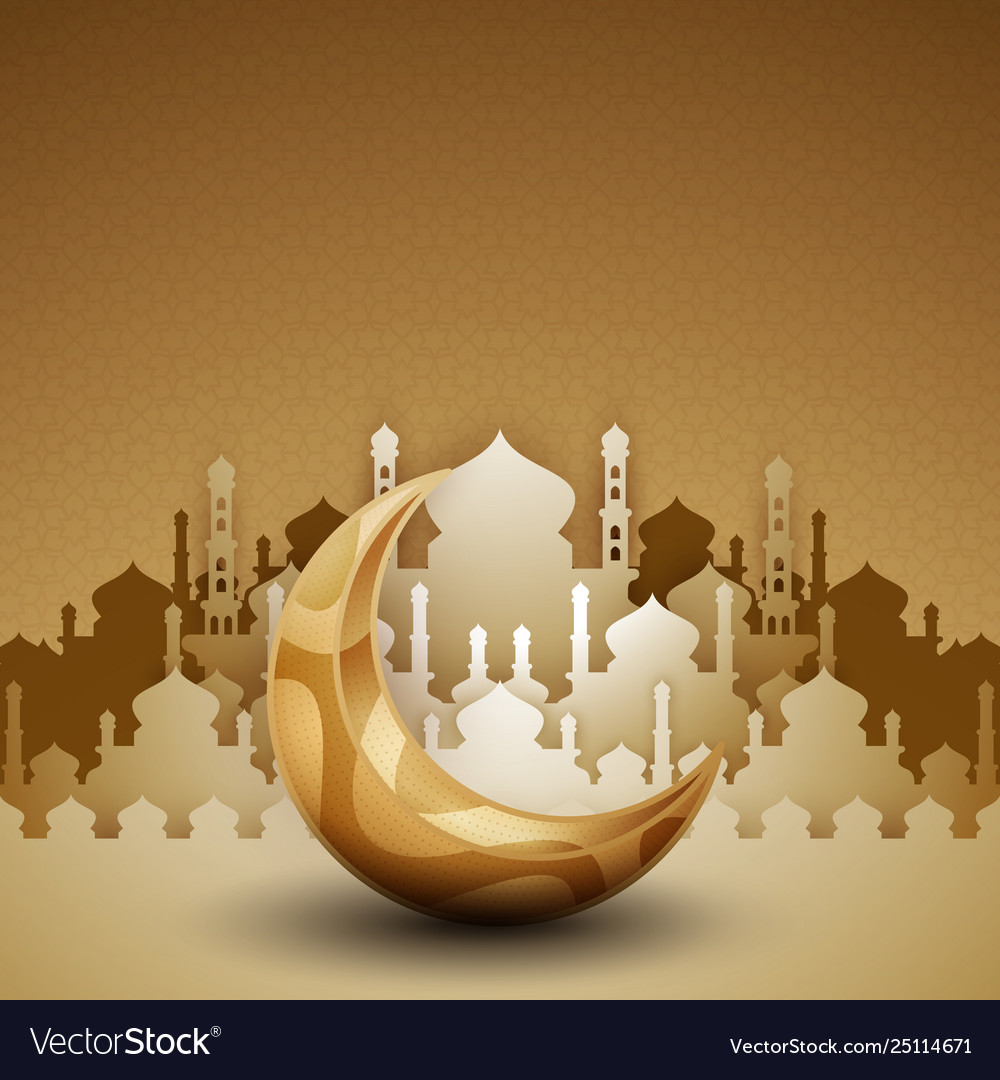 3d golden mosque silhouette with crescent moon