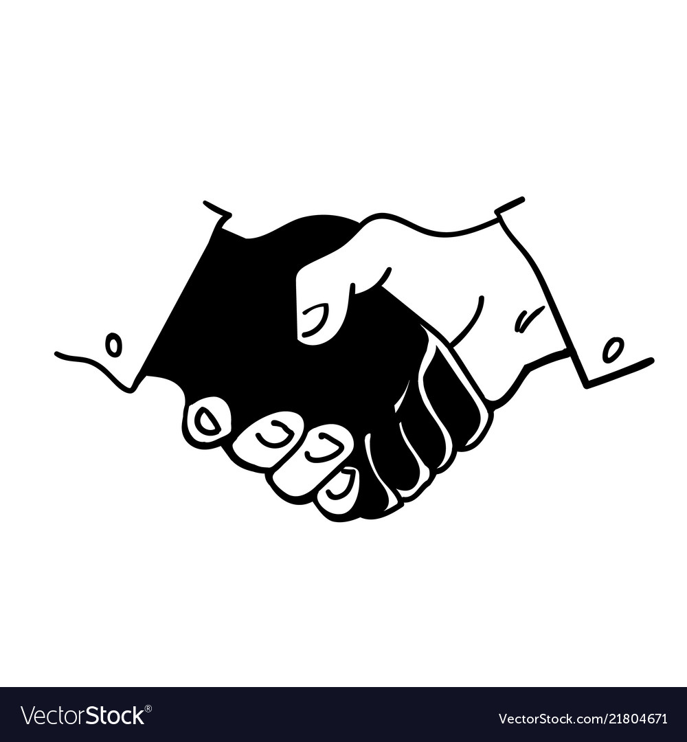 Black and white human hands in a handshake hand