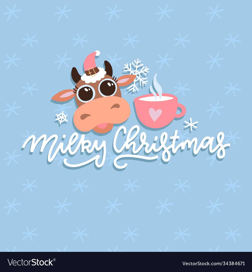 Christmas cute cartoon cow with hand drawn