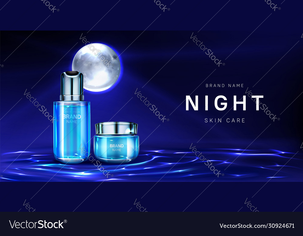 Cosmetics For Night Skin Care Banner Cream Jar Vector Image