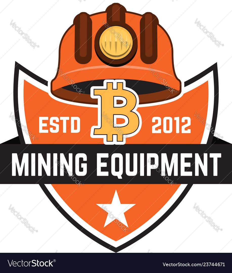 Cryptocurrency mining emblem isolated on white