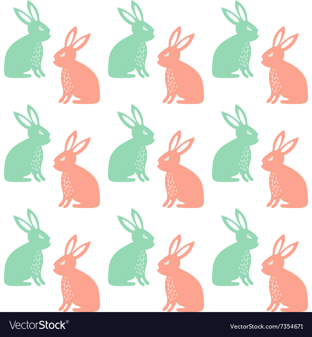 Easter Seamless pattern with cute rabbits