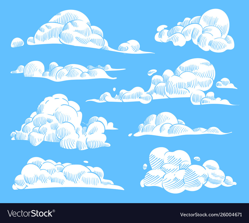 Hand drawn clouds sketch cloudy sky vintage