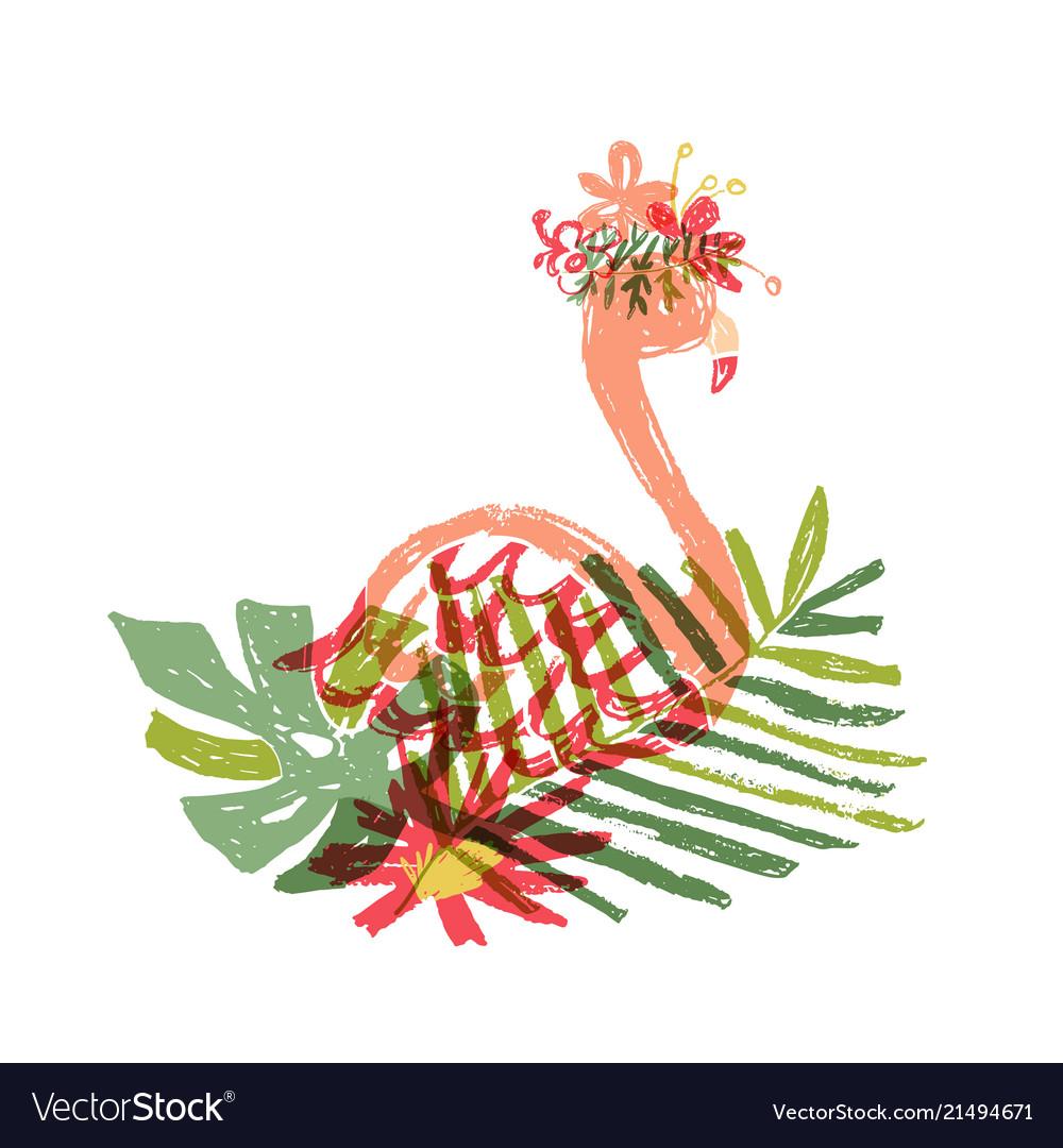 Hand drawn flamingo tropical flower composition