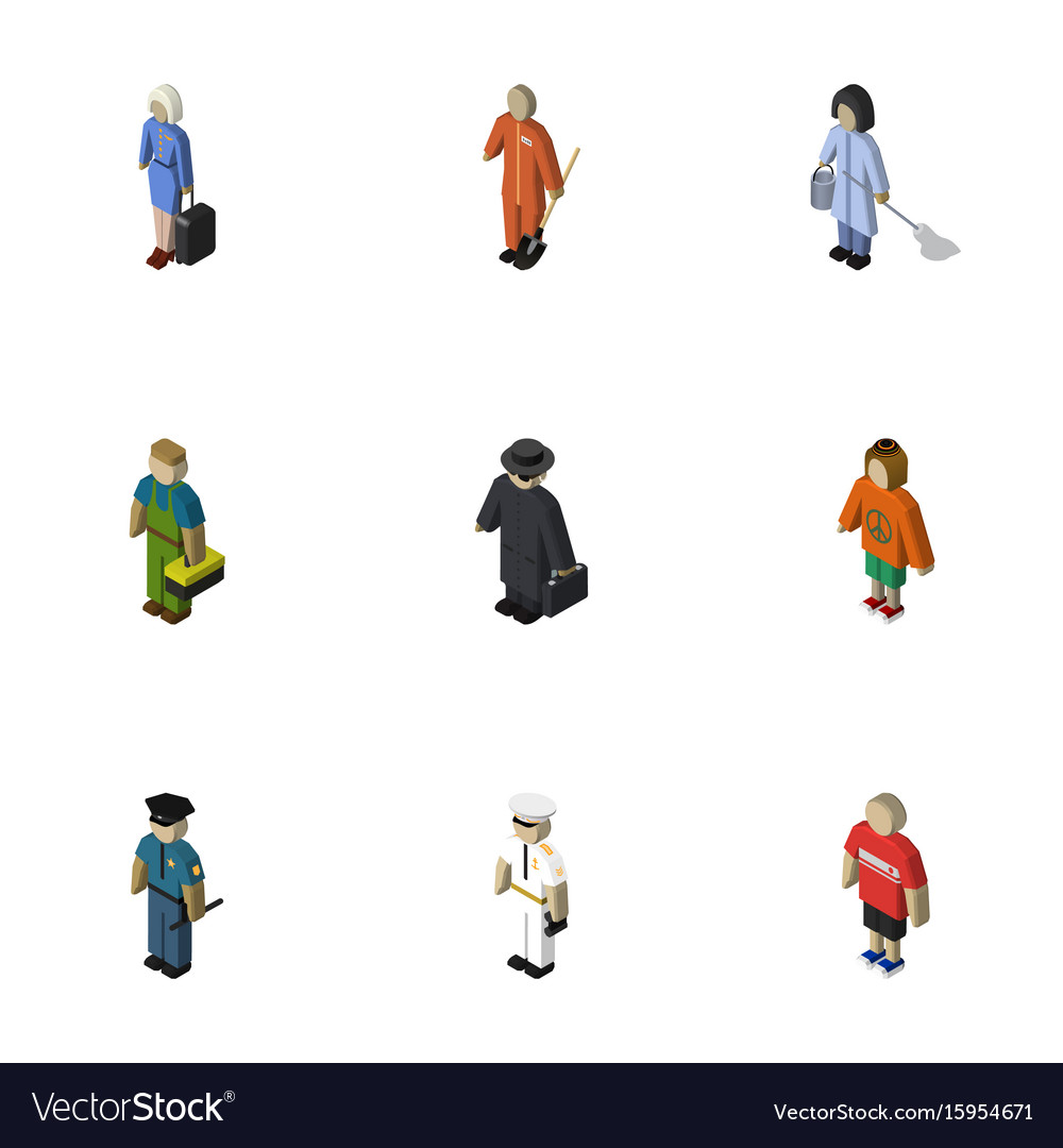 Isometric human set of detective officer lady
