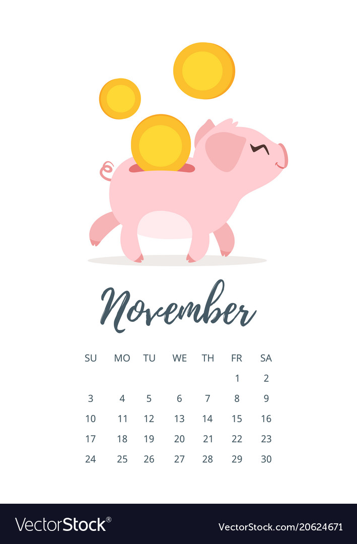 november 2019 year calendar page vector image