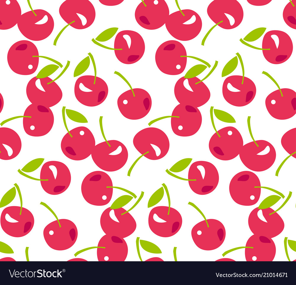 Red simple cherry seamless pattern