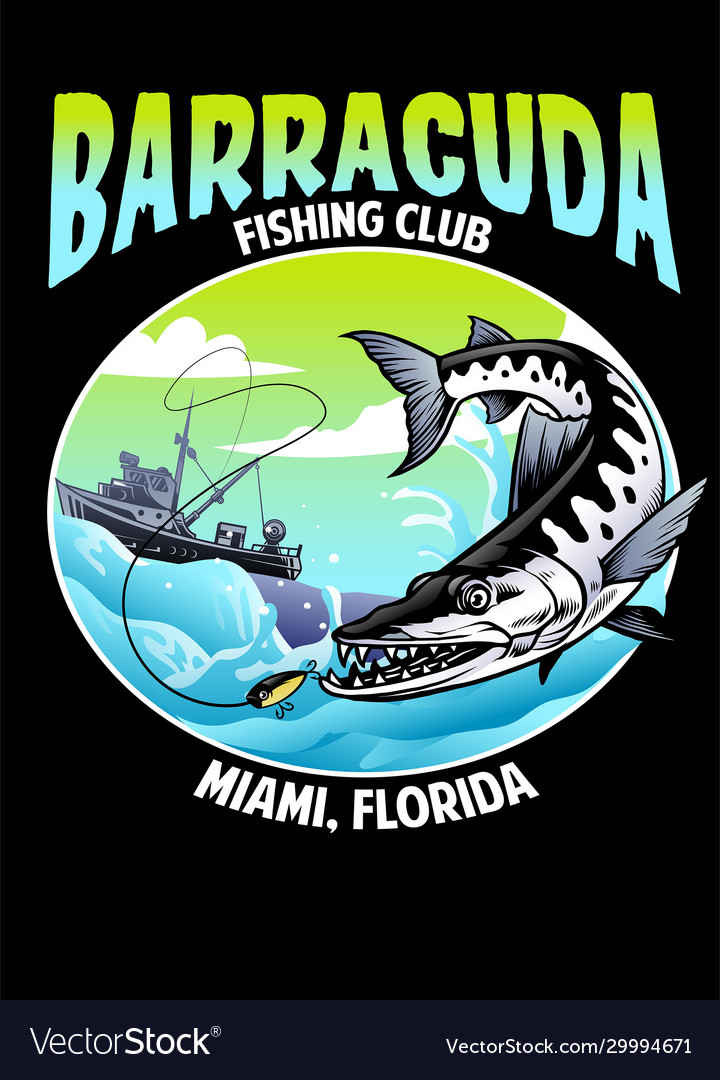 Shirt design barracuda fishing