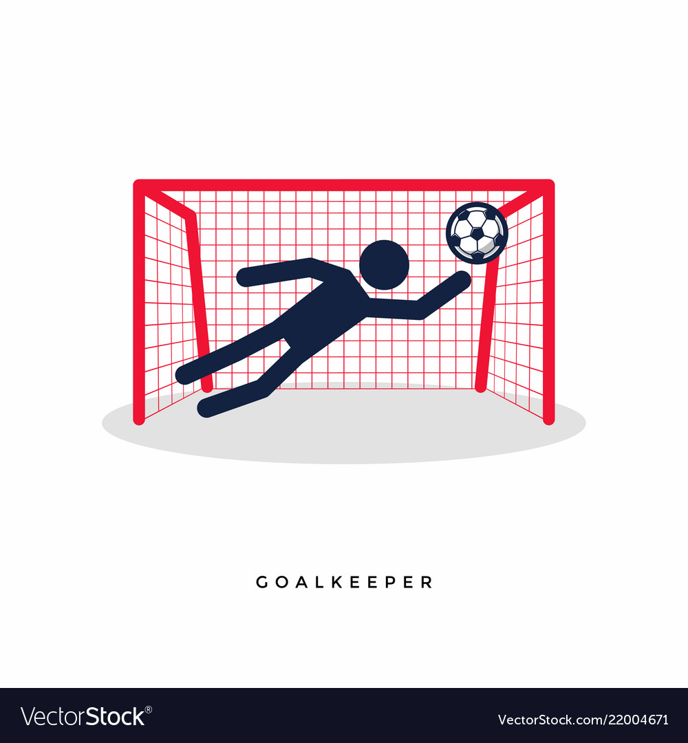 Stick figures of soccer or football goalkeeper