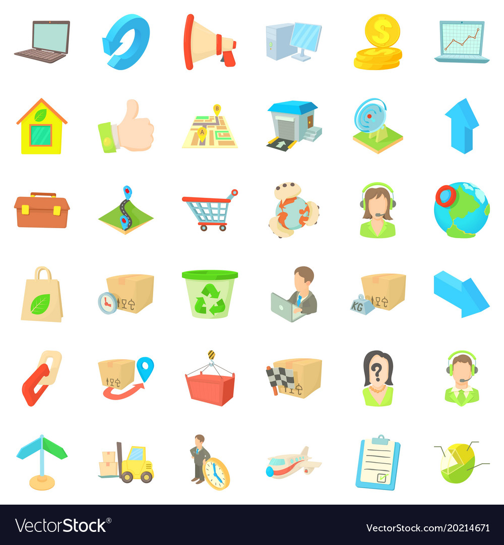 Transfer package icons set cartoon style