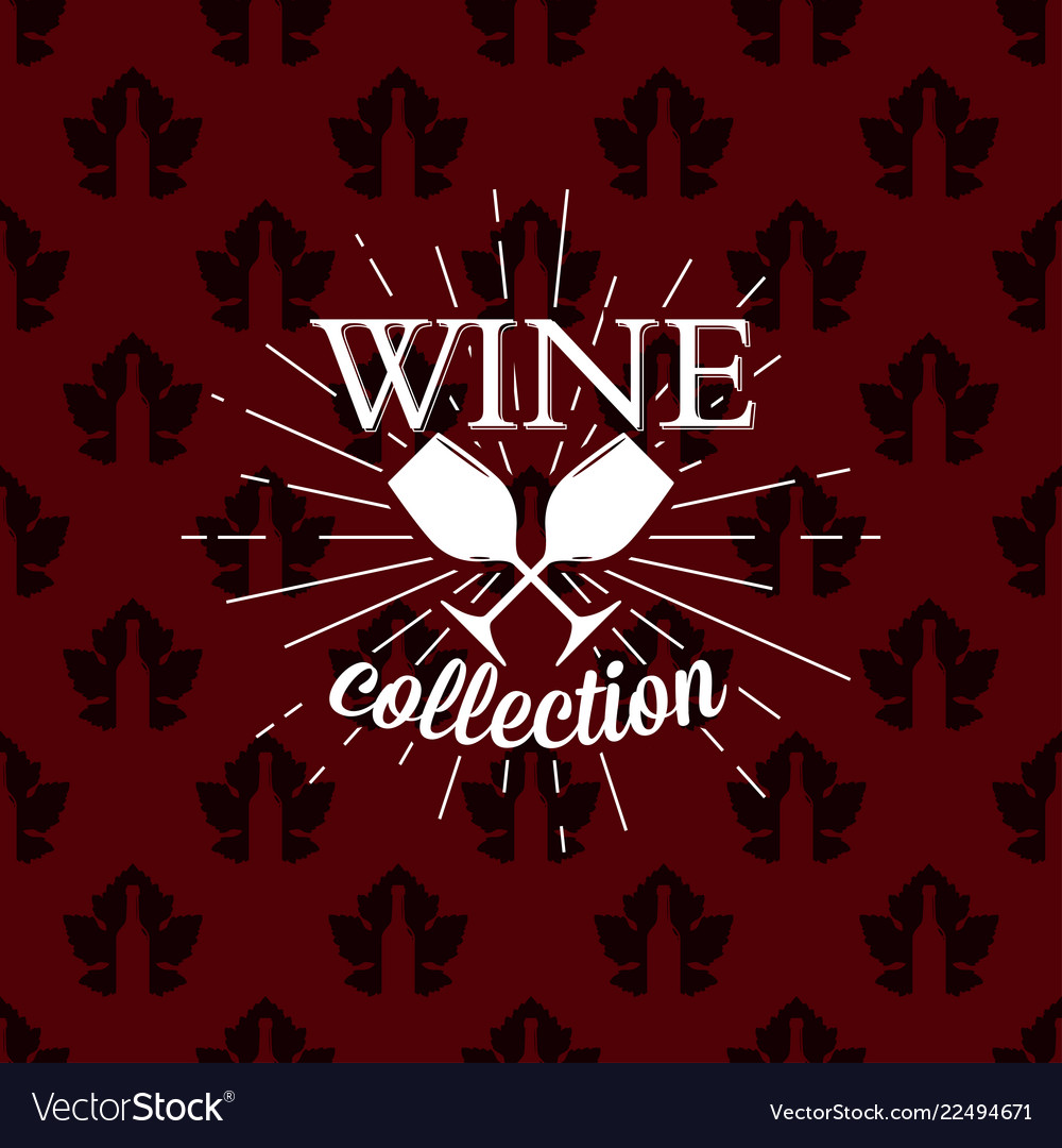 Wine collection logo on seamless pattern