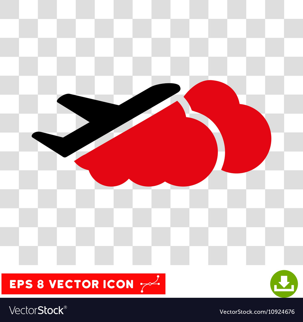 Airplane Over Clouds Eps Icon