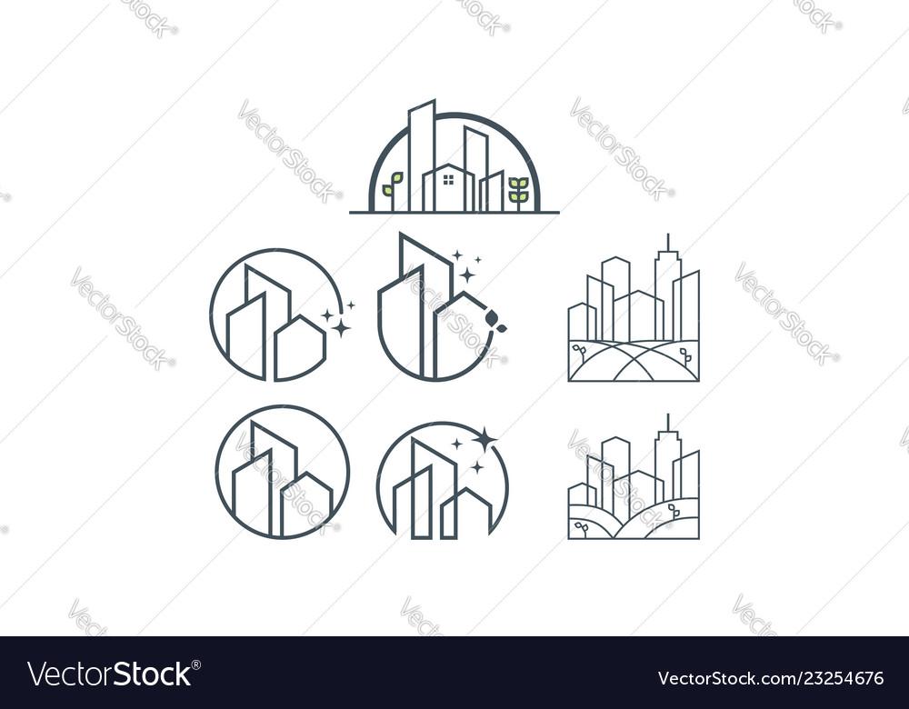 Building icon line art logo