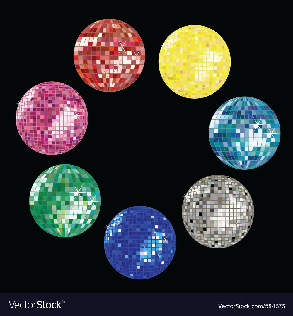 Disco ball collection vector image