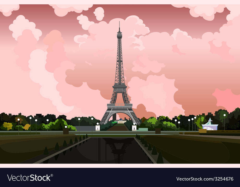 Eiffel Tower in Paris on a background of pink sky