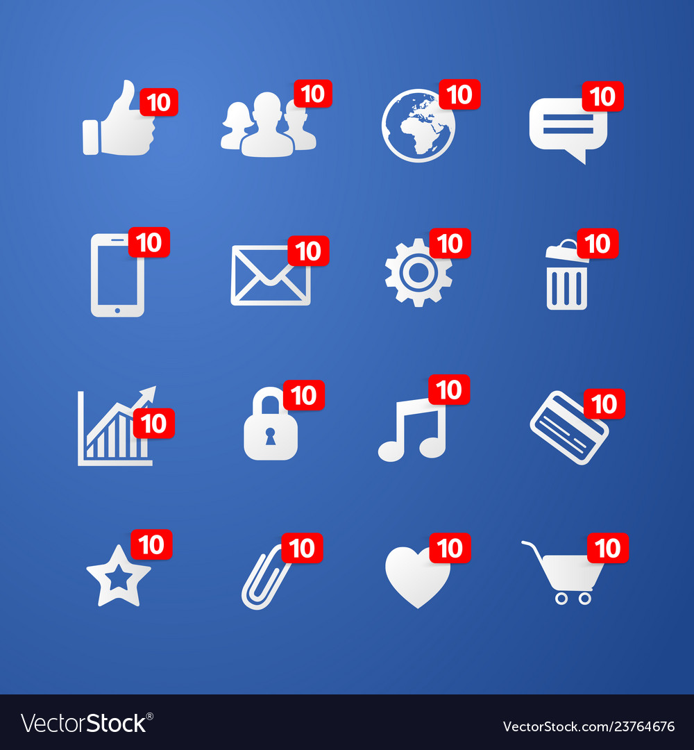 Facebook social network web icons set
