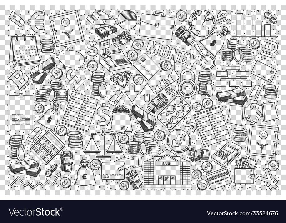 Finance business doodle set