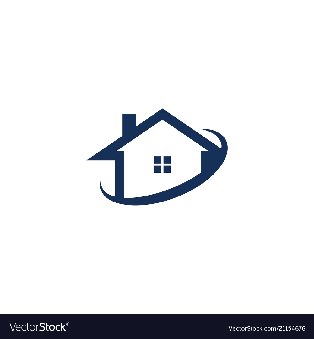 House and swoosh abstract logo design concept