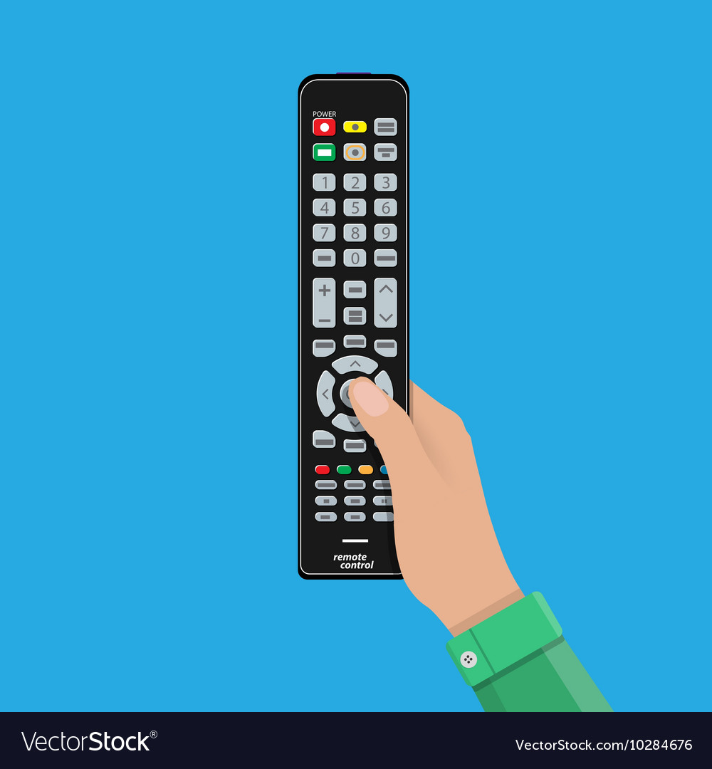 Human hand with black modern remote TV Control