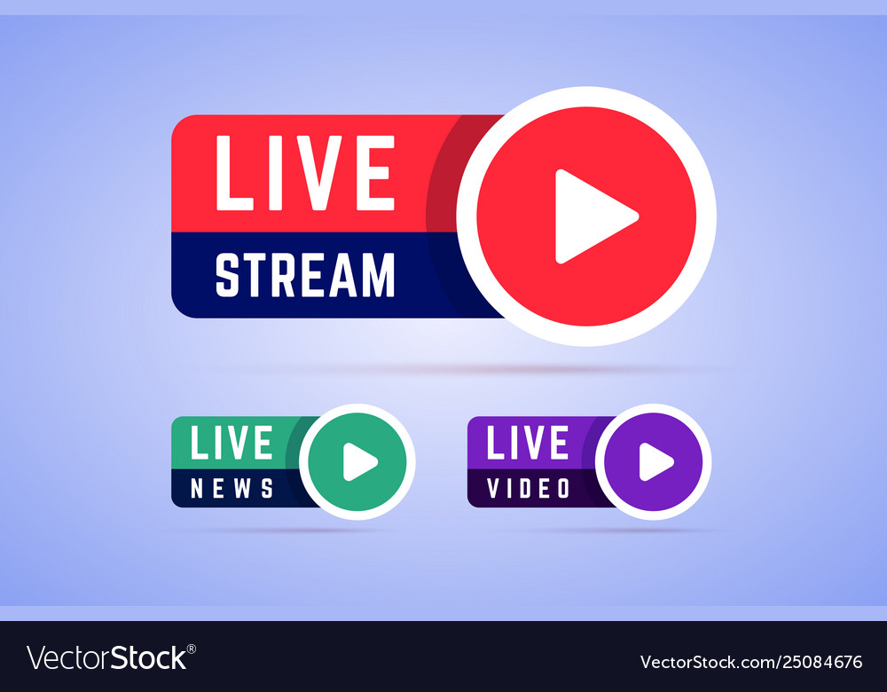 Live news video and stream icons labels signs