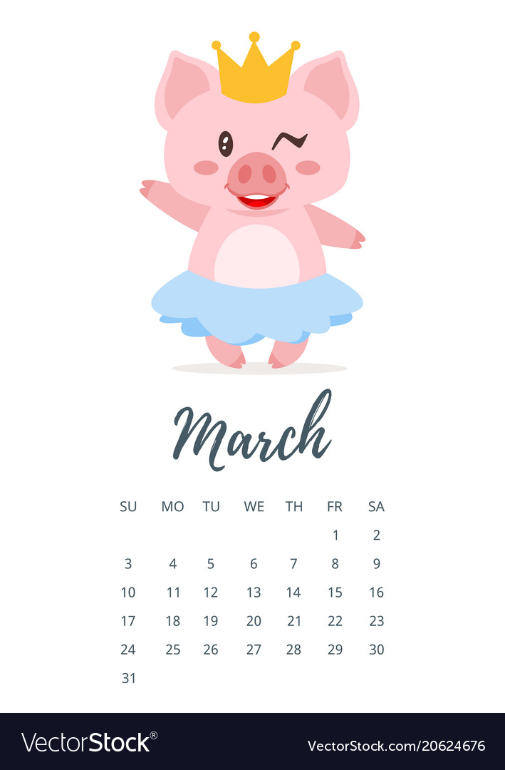 march 2019 year calendar page vector image