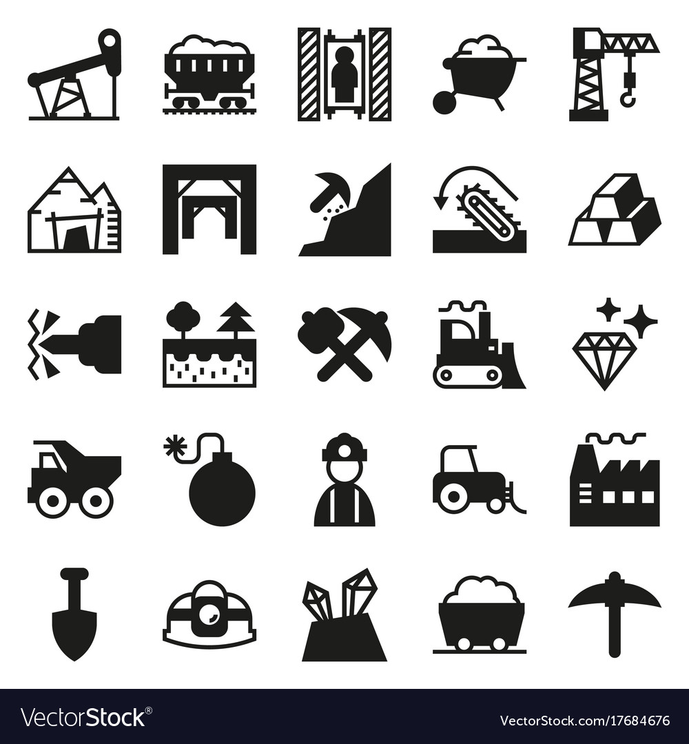 Mining icon collection for web app vector image