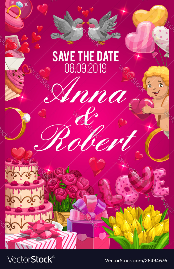 Save Date Invitation On Wedding Party Couple Name