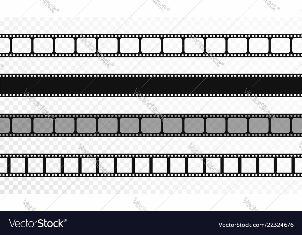 Seamless film strips on transparent background