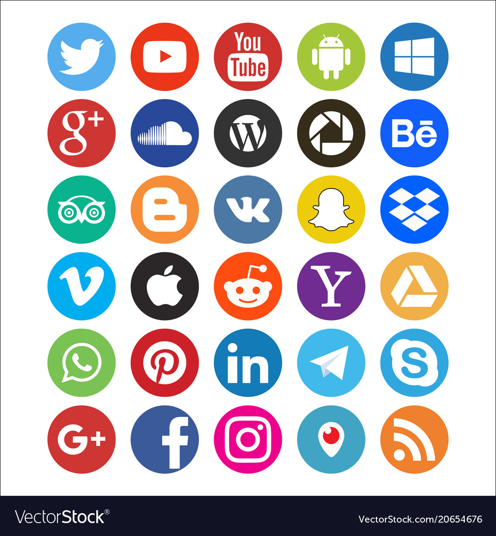 Set of colored icons of social networks web