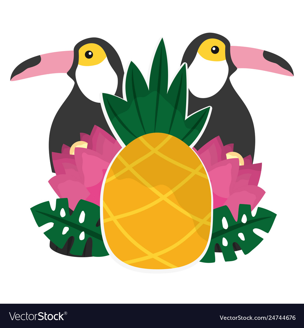 Toucan flowers and pineapples tropical summer