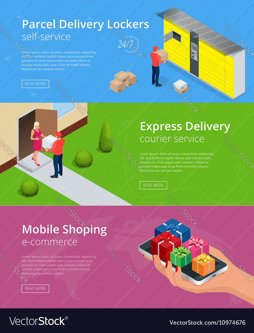 Web banners Isometric Parcel Delivery Lockers vector image