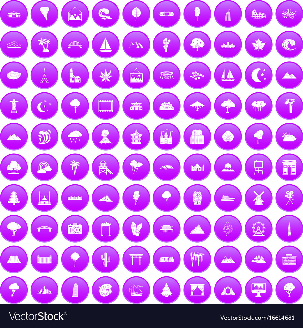 100 view icons set purple vector image
