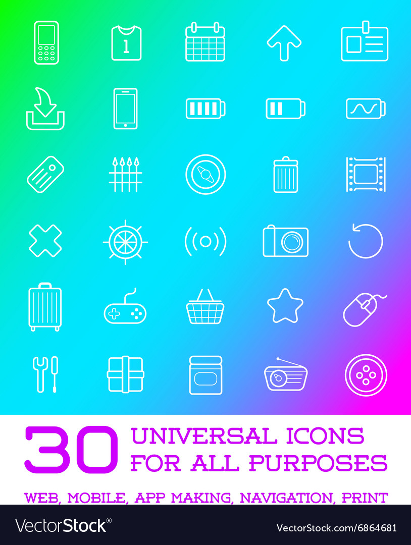 30 Universal Icons Set For All Purposes Web Mobile