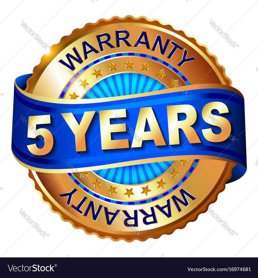 5 years warranty golden label with ribbon vector image