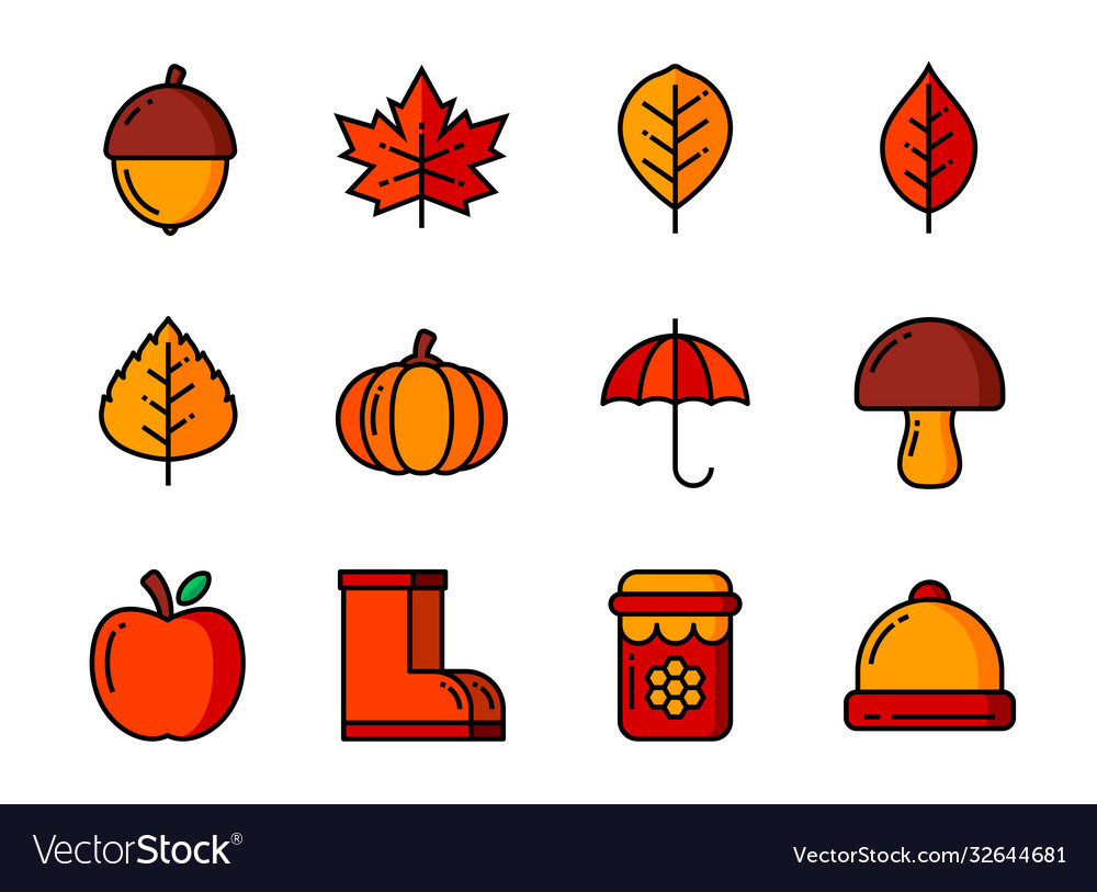 Autumn icon set color and thin line symbols