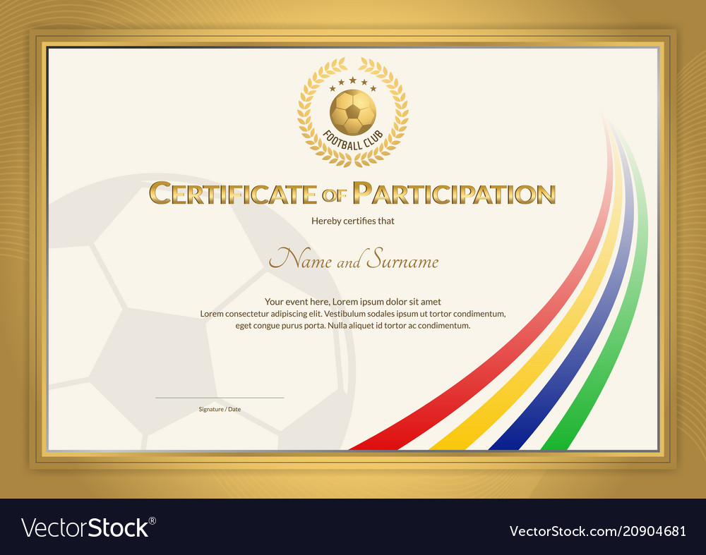 Certificate template in football sport color
