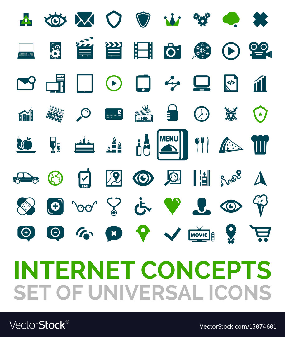 Collection of universal internet concept