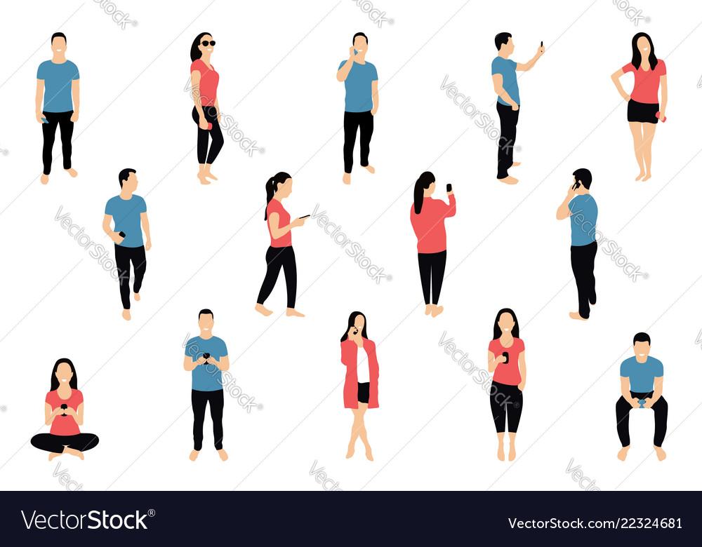 Crowd of people with smartphones men and women
