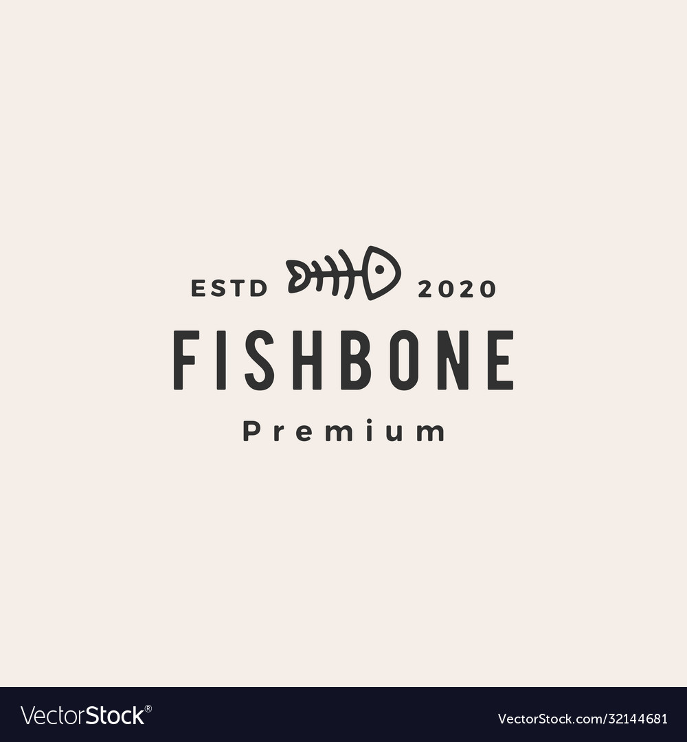 Fish bone cat food hipster vintage logo icon vector