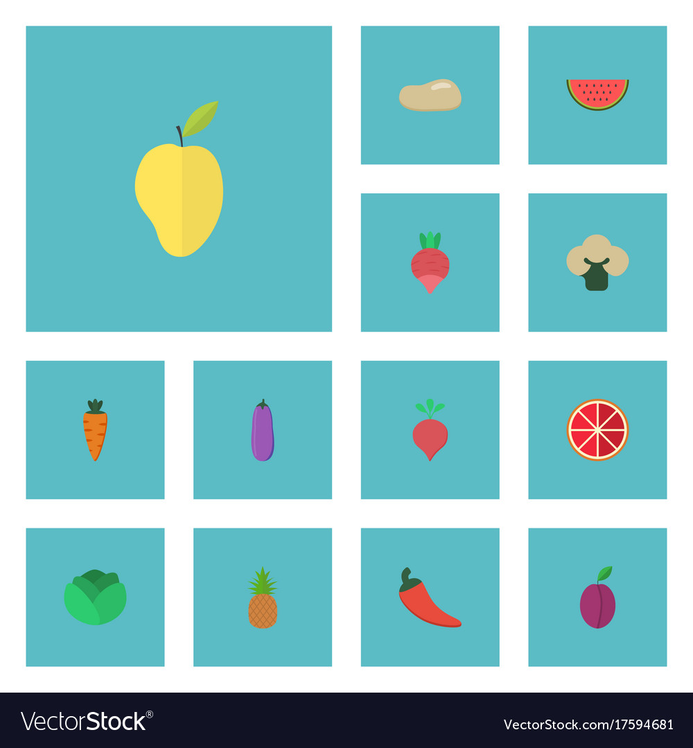 Flat icons melon slice apricot mango and other vector image