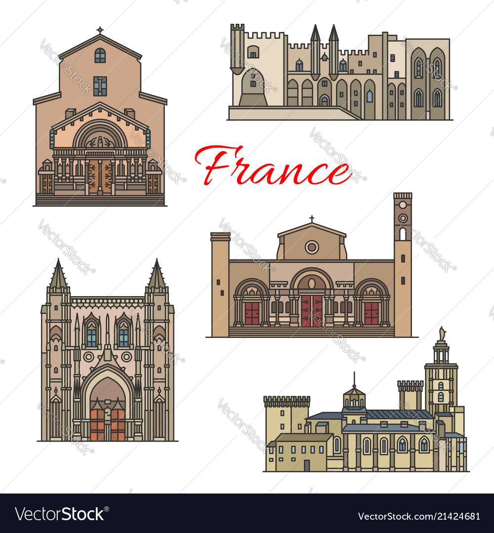 French travel landmarks thin line