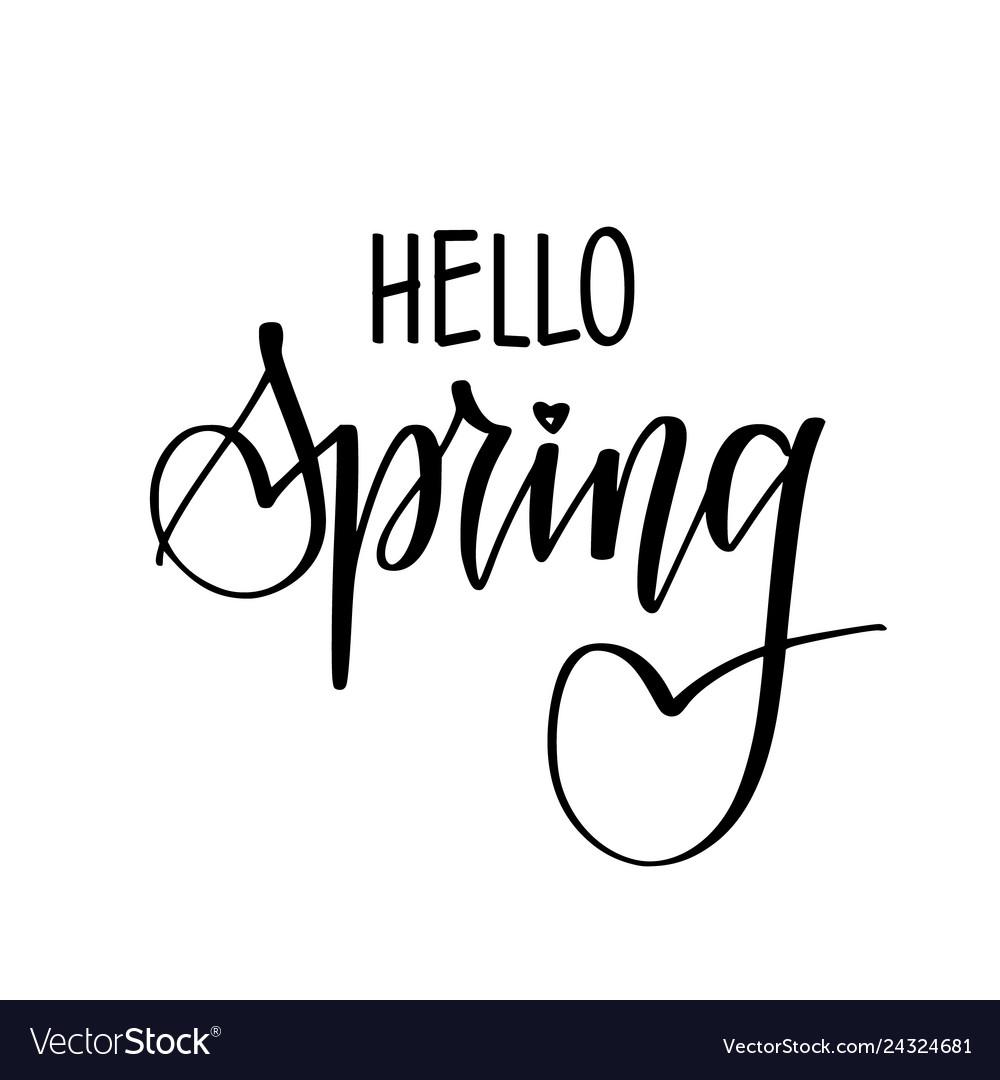 Hello spring seasonal greetings hand drawn