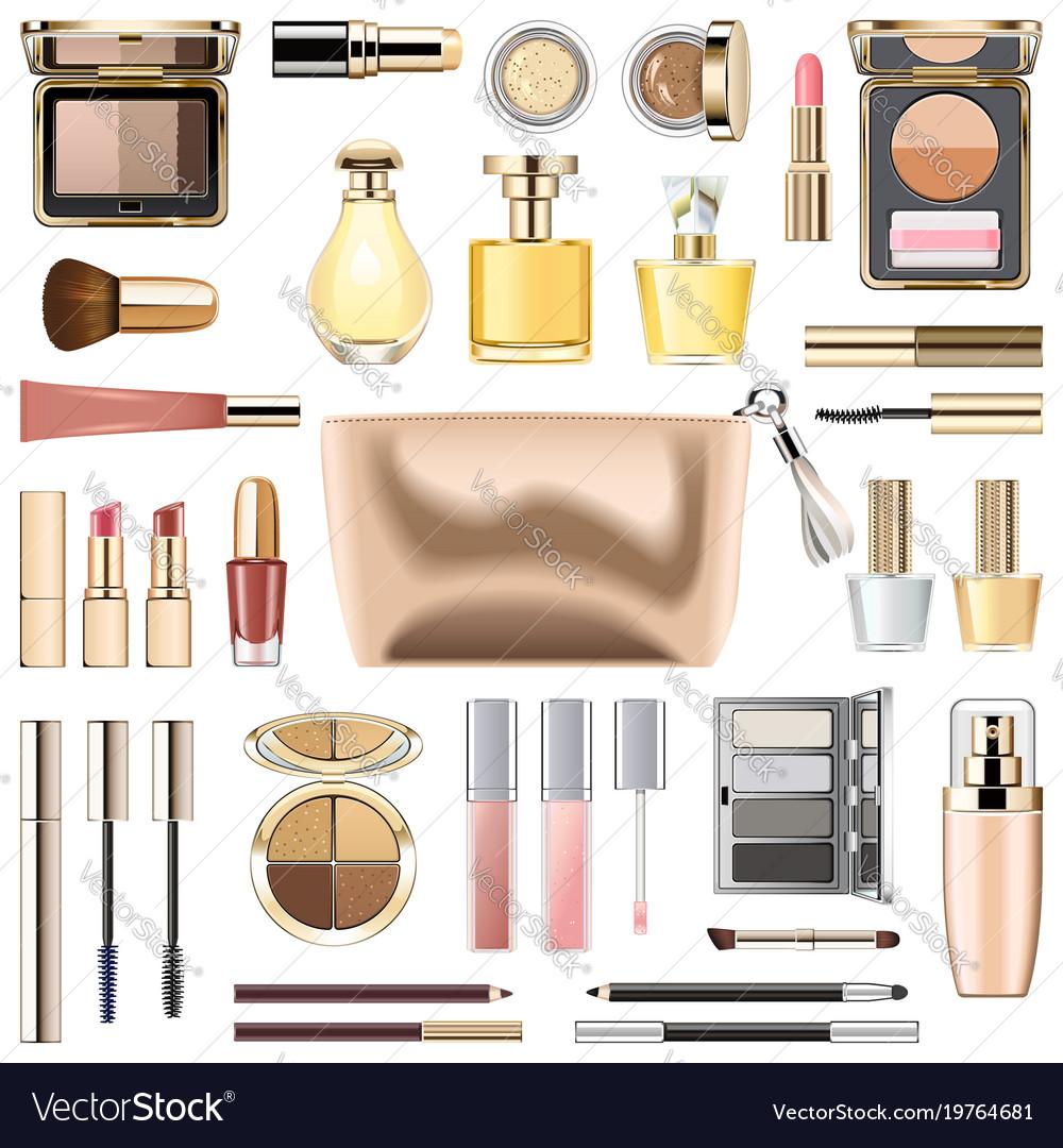 Makeup cosmetics with golden cosmetic bag