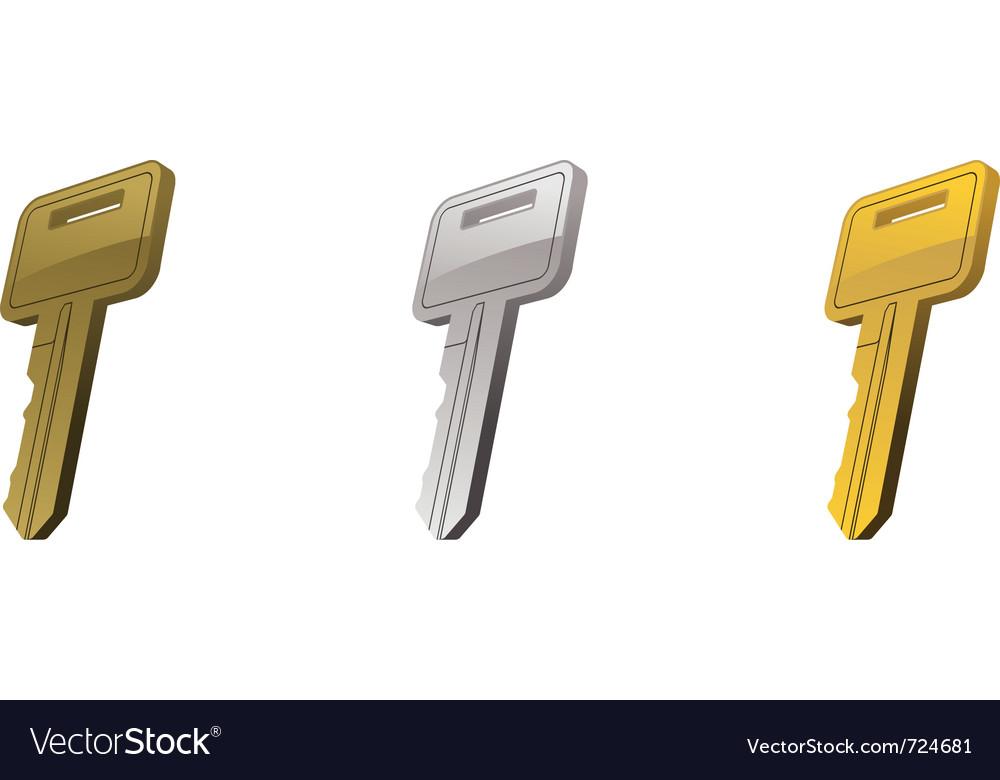 Metal key set three vector image