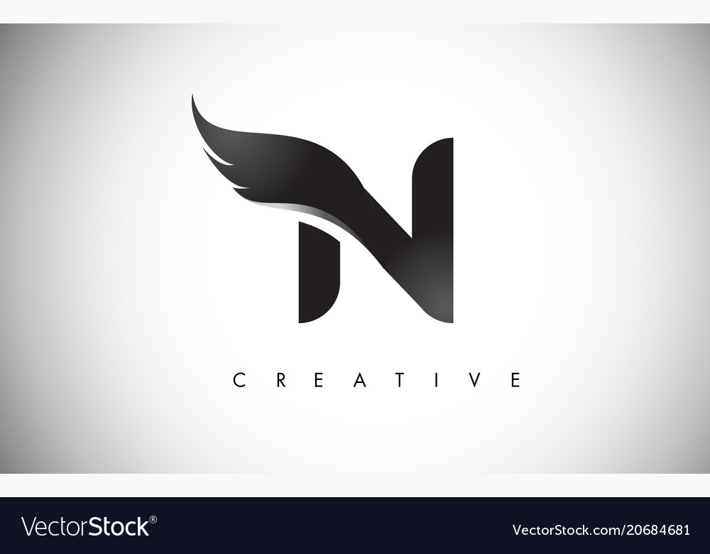 N Letter Wings Logo Design With Black Bird Fly Vector Image