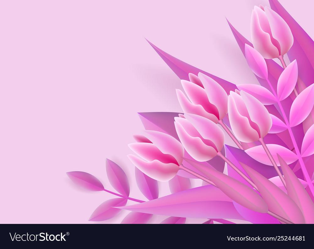 Pink background with mesh gradient flower bouquet