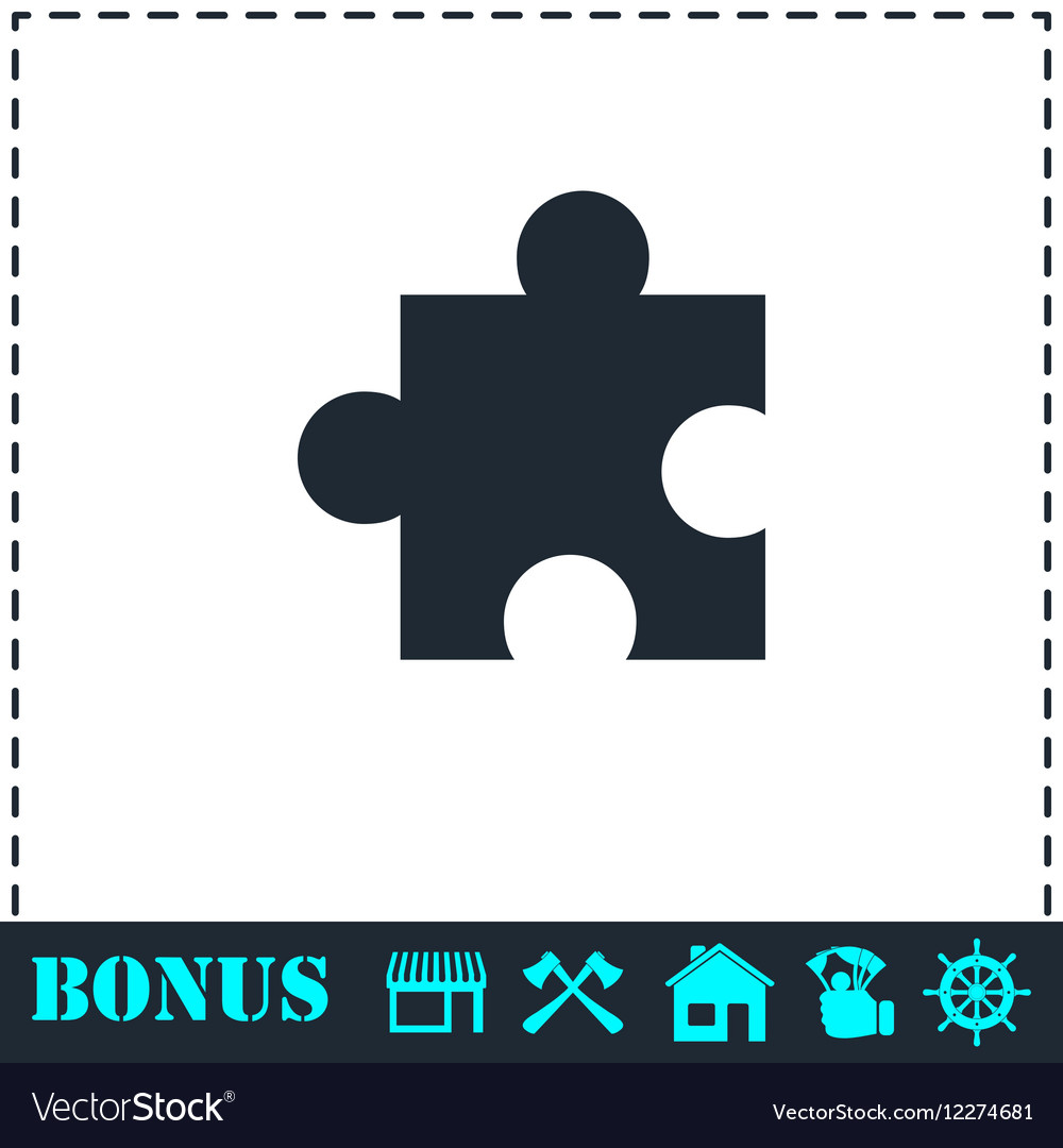 Puzzle piece icon flat
