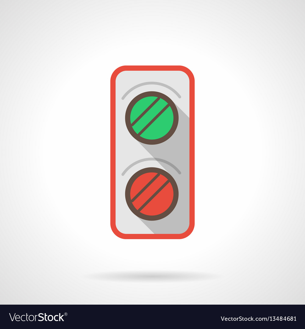 Railroad traffic light flat color icon