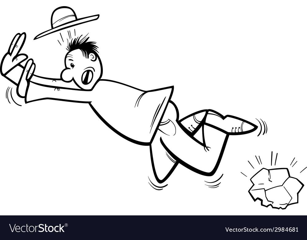 Stumbling man coloring page Royalty Free Vector Image